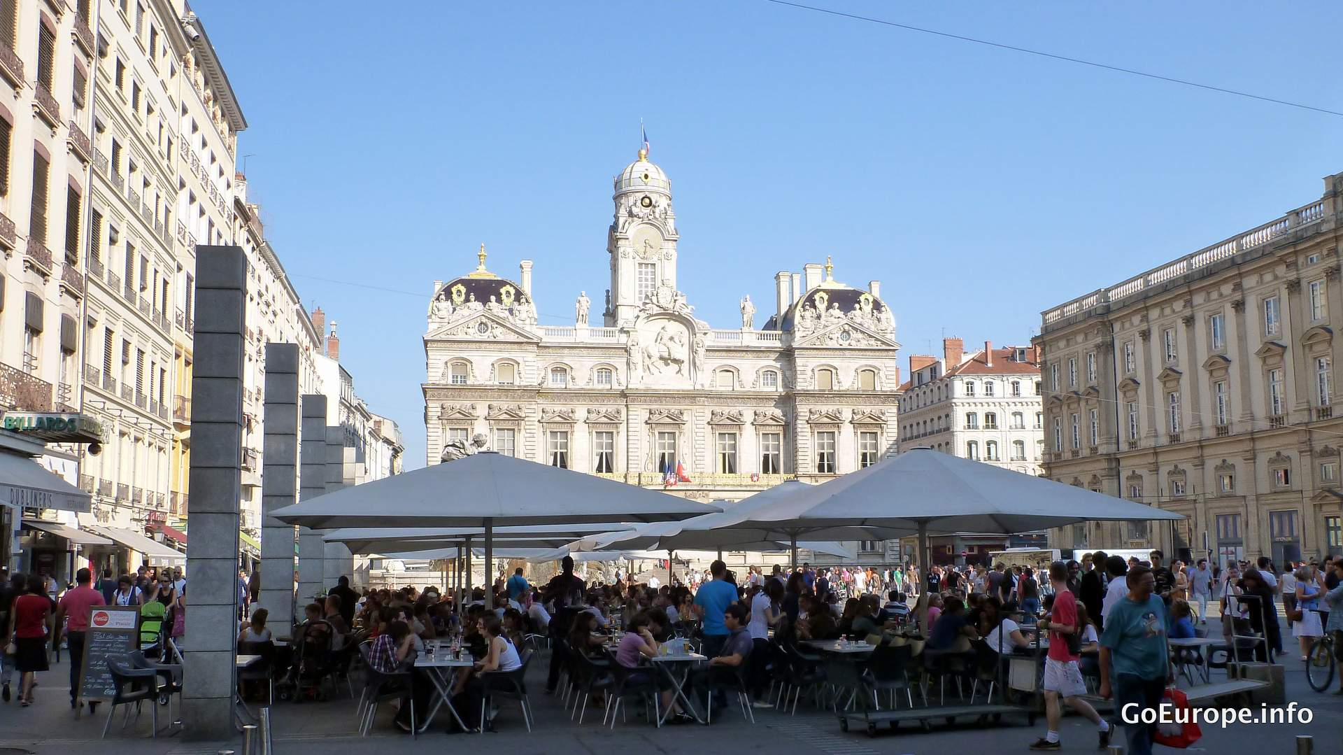 A lot of restaurants on the squares.